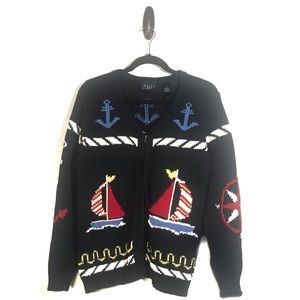 Crazy Horse Vintage Nautical Zip Cardigan Small